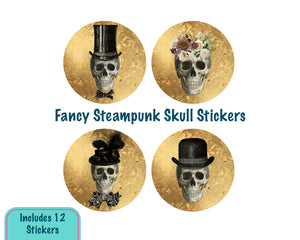 Steampunk Vintage Skull Halloween Stickers