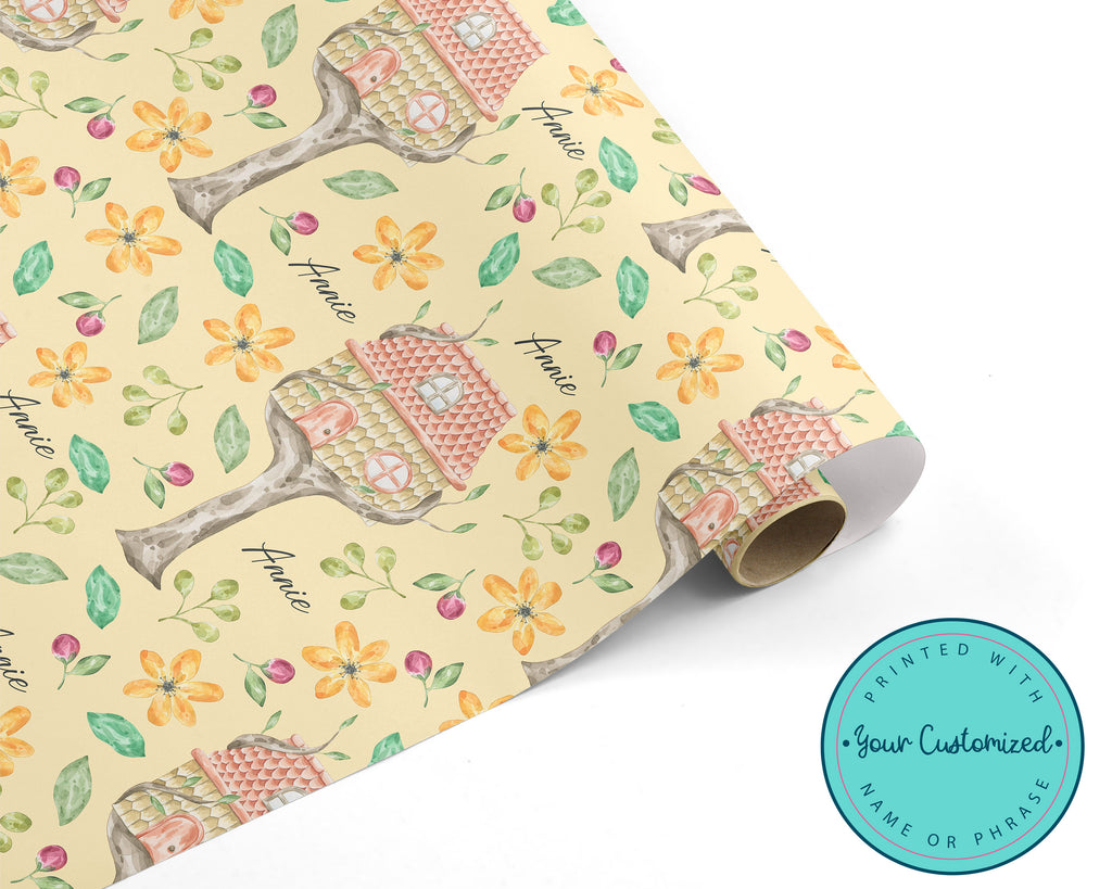 Personalized Fairy Tree House Floral Wrapping Paper