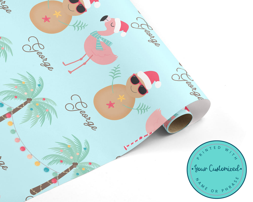 Personalized Tropical Beach Christmas Wrapping Paper
