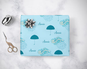 Personalized Rain Umbrella Wrapping Paper