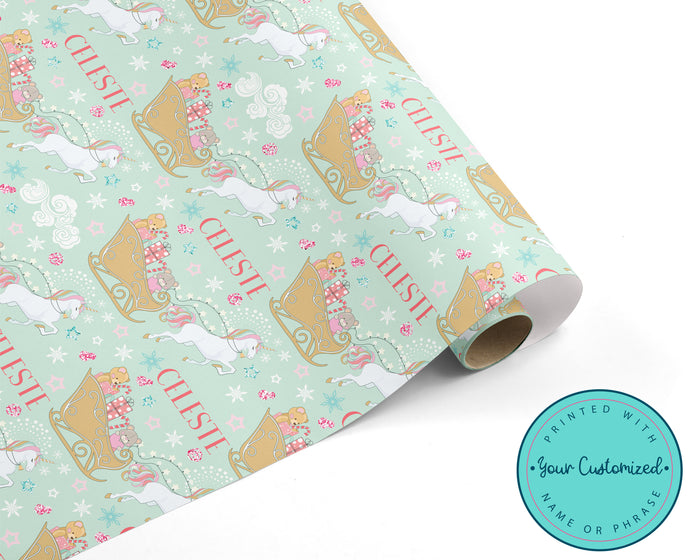 Christmas Unicorn Wrapping Paper