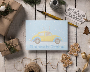 VW Beetle and Reindeer Christmas Cards
