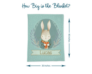 Information graphic about the size of the baby blanket. The size is 40 inches long by 30 inches wide.