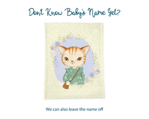Don't know baby's name yet? We can also leave the name off. Yellow cat blanket shown without personalization.