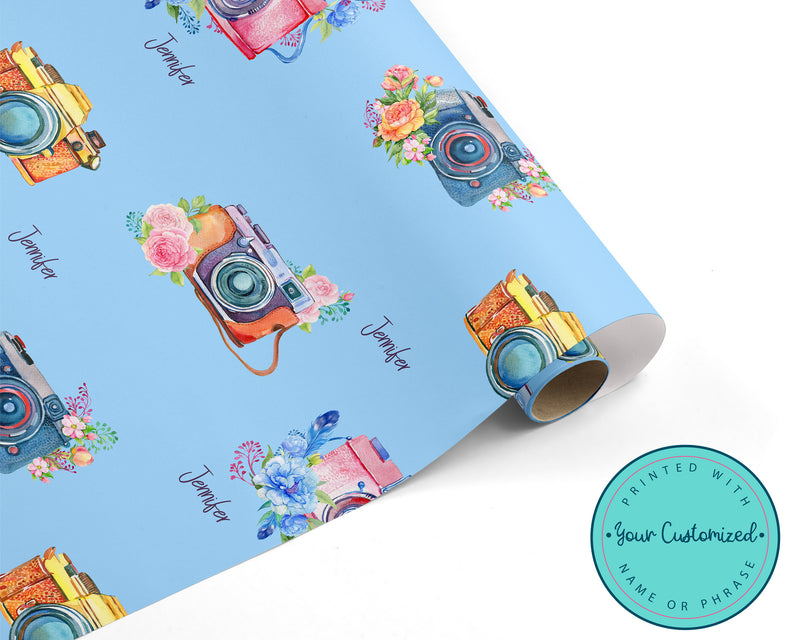 Personalized Vintage Camera Wrapping Paper