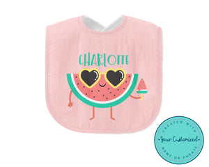 Personalized Pink Cool Watermelon Baby Bib