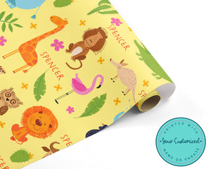 Personalized Jungle Safari Wrapping Paper