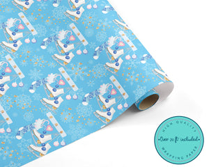 Sparkly Blue Ice Skate Christmas Wrapping Paper