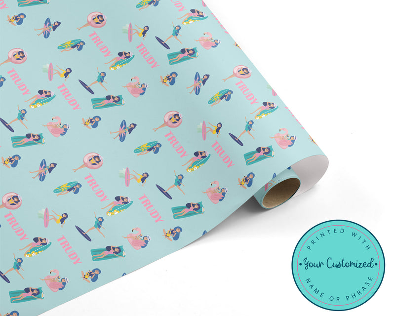 Personalized Surfer Girl Summer Wrapping Paper