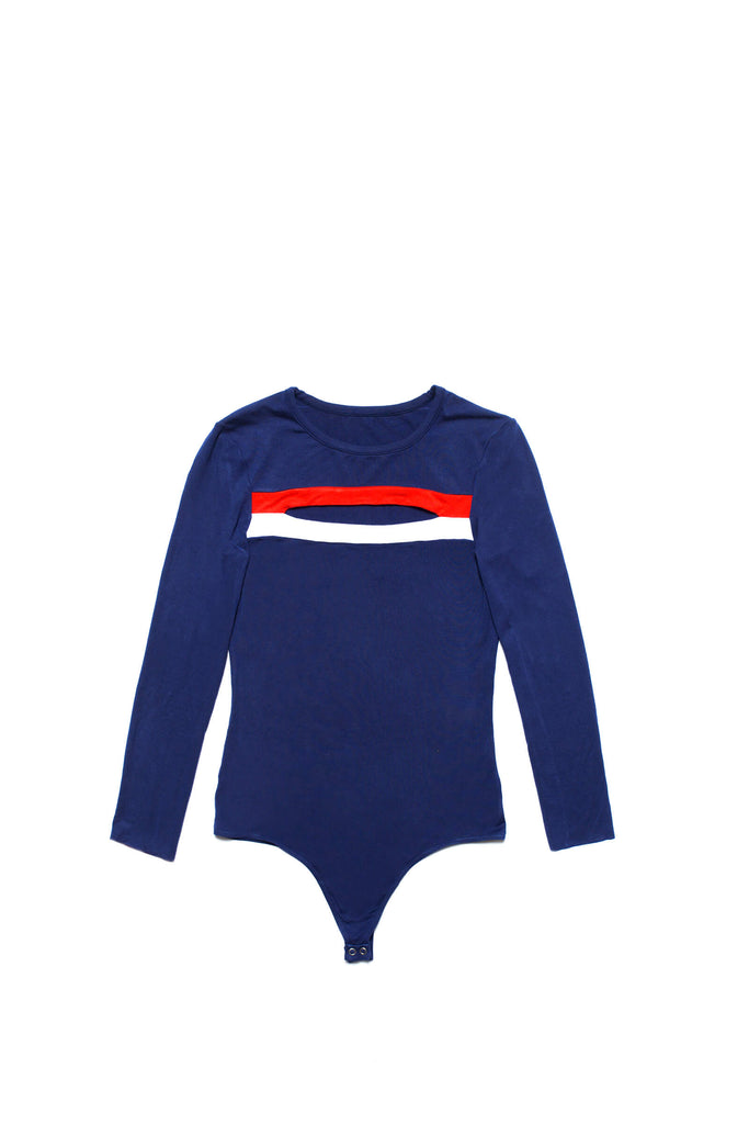 Flair bodysuits bodysuit body femme Monica bleu blanc rouge finition tanga made in France marque troyes collab monoprix patrimoine français