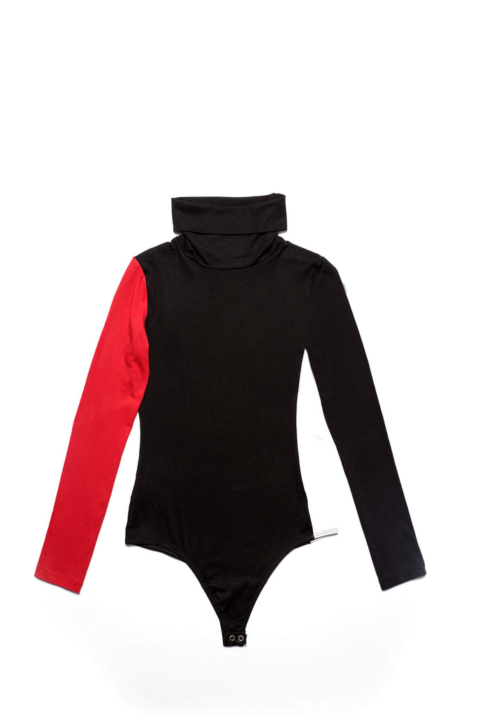 Flair body femme made in France col roule noir rouge blanc