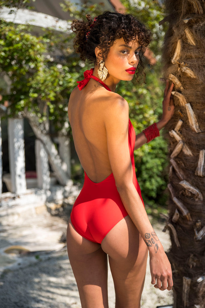 Flair body bodysuit made in France swimsuit maillot 1 pièce rouge décolleté plongeant dos-nu  printemps ete 2019 summer