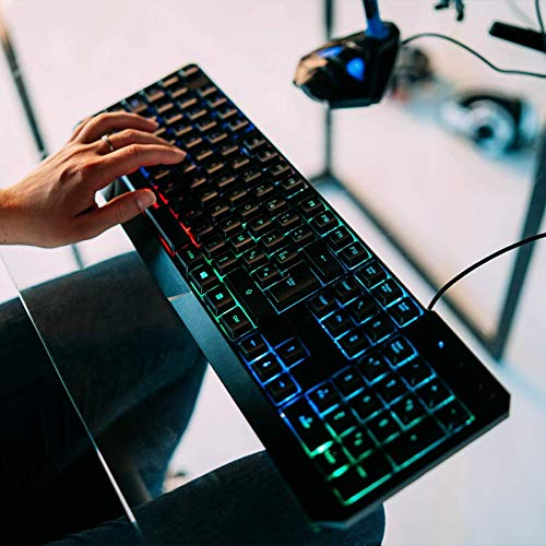 KLIM Chroma Clavier Gamers AZERTY FRANÇAIS Filaire USB - Haute Performance - Clavier Éclairé Chromatique Gaming Noir RGB PC Windows, Mac PS4 [ Nouvelle Version ]