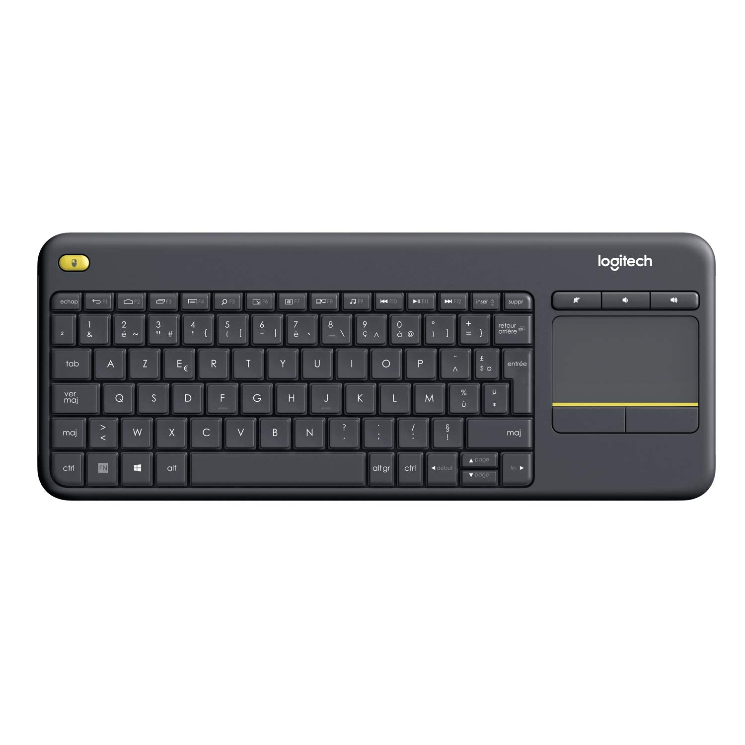 Logitech K400 Plus, Clavier sans Fil avec Pavé Tactile pour PC Connecté à TV, Touches Multimédia Personnalisables, Compatible avec Windows/Android/Portable/Tablette, Clavier Français AZERTY - Noir