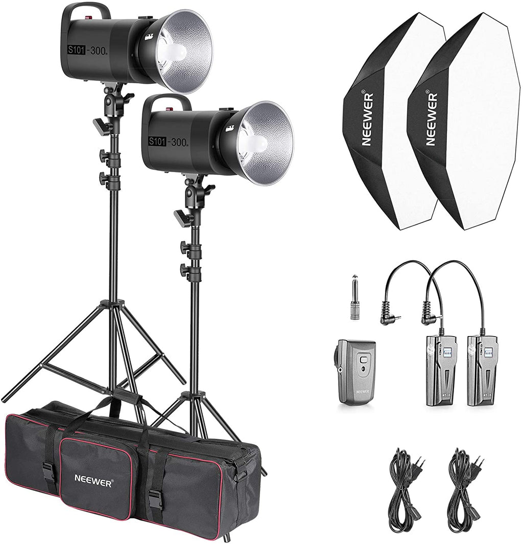 Neewer 600W Flash Stroboscopique Studio Kit d'Éclairage: 2 S101 300W Monolight avec Monture Bowens, 2 Support de Lumière, 2 Softbox, 1 Émetteur RT-16, 2 Récepteur, 1 Grand Sac pour Tournage Vidéo
