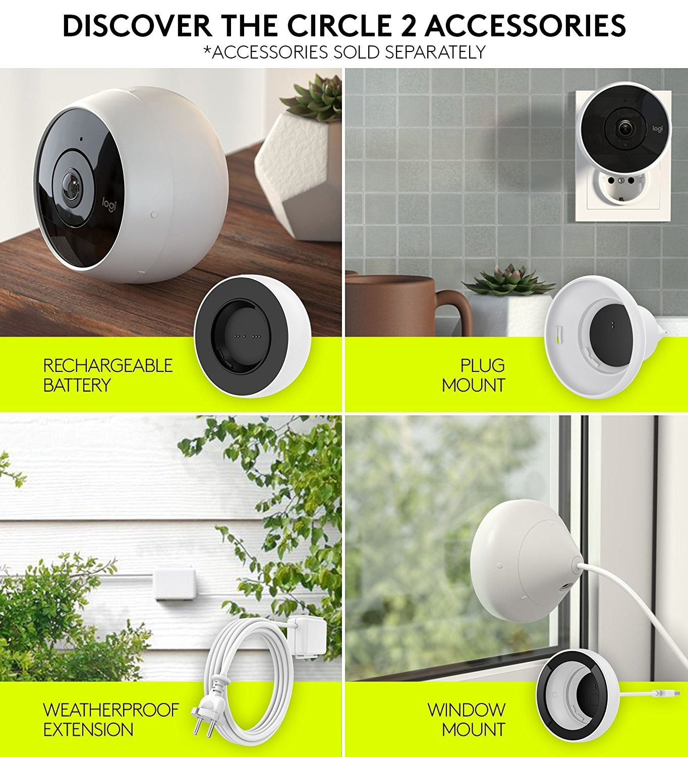 Logitech Circle 2, Caméra de Surveillance d'Intérieur/Extérieur filaire, Résistante aux Intempéries Compatible Alexa, Apple HomeKit et ChromeCast, HD 1080p, Grand Angle 180 °, Vision Nocturne - Blanc