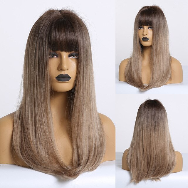 Synthetic Wigs Long Wavy Ombre Black Brown Blonde Ash Wigs with Bangs for Black Women Afro Heat Resistant False Hair