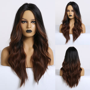 Ombre Black Brown Cosplay Synthetic Wigs Long Middle Part Wavy Natural Hair Wig For Black Woman Afro Heat Resistant