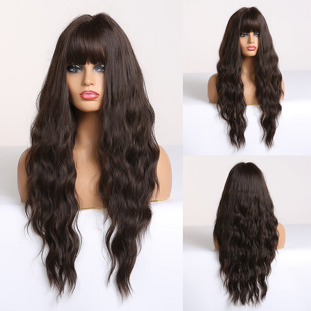 Long Wavy Wigs with Bangs Middle Part Synthetic Hair Wigs Ombre Black Brown Blonde Wig for Black Women Afro Cosplay