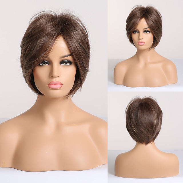 Short Ombre Brown Light Blonde Synthetic Wigs With Side Bangs For Black Woman Cosplay Layered Wig High-Temperature