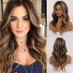 Medium Synthetic Wavy Wigs Ombre Black Brown Wig with Light Brwon Highlights Women Middle Part Heat Resistant Fiber