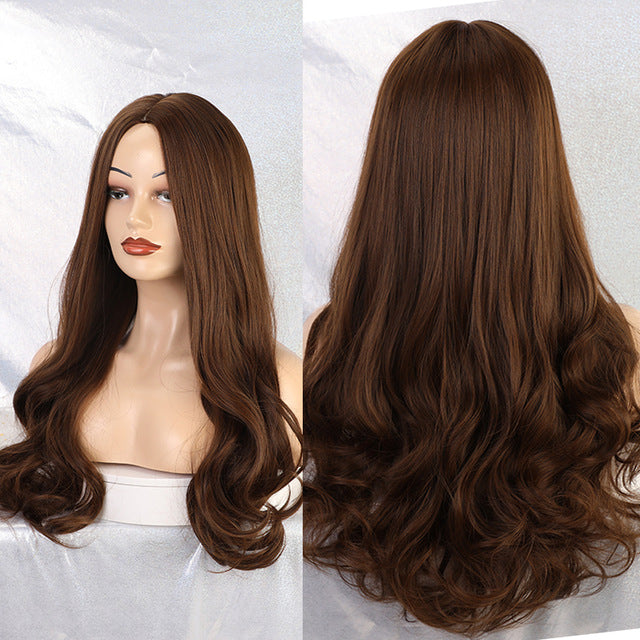 Long Water Wave Synthetic Wigs With Bangs Ombre Brown Red Gloden Cospaly Wig For Black Woman Heat Resistant Fibre