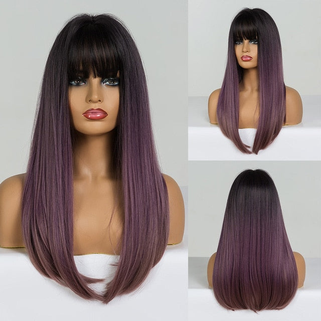 Ombre Black Brown Golden Synthetic Wigs with Bangs Long Silk Straight Cosplay Wig For Woman Heat Resistant Fibre