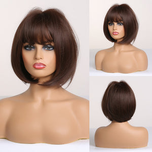 Women's Short Straight wig Pixie Cut Synthetic Wigs Natural Ombre Blonde Brown Black Wigs with Side Bangs Cosplay