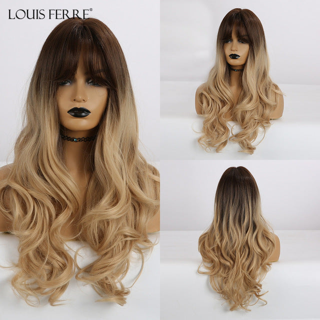 Ombre Black Brown Honey Synthetic Wigs with Bangs for Black Woman Long Natural Wave Cosplay Wig Heat Resistant Fibre