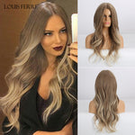 Ombre Honey Brown Blonde White Ash Long Water Wave Wigs Middle Part Cosplay Wig For Black Woman Heat Resistant Fibre
