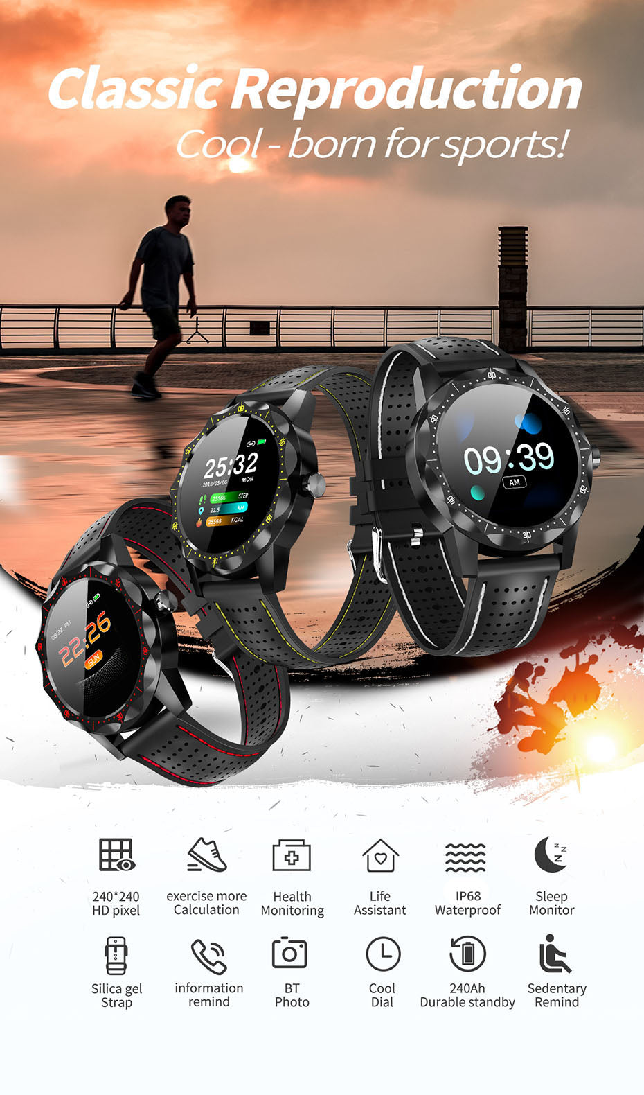 Smart Watch Men IP68 Waterproof Activity Tracker Fitness Tracker Smartwatch Clock BRIM for android iphone IOS phone