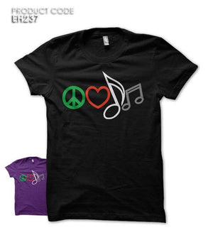 PEACE LOVE MUSIC Half Sleeves Tshirt (EH237)