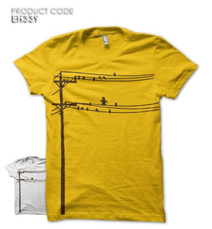 BIRDS ON WIRE Half Sleeves Tshirt (EH339)