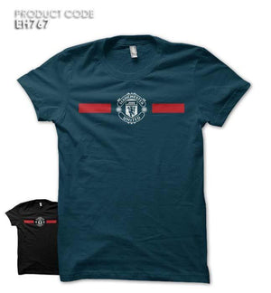 MANCHESTER UNITED STRIPES Half Sleeves Tshirt (EH767)
