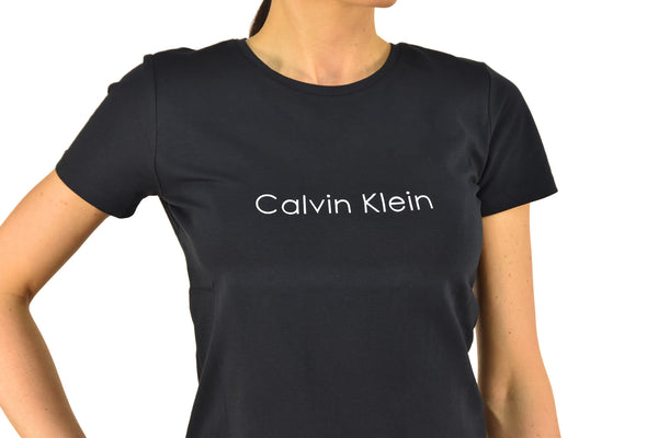 Calvin Klein Collection T-shirt Blu Donna Cotone Stampa Girocollo