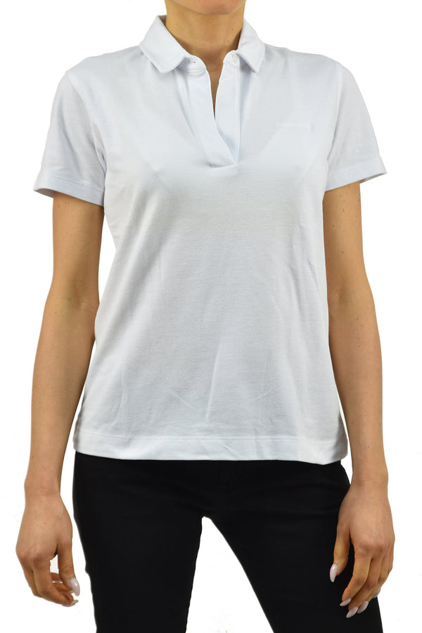 Calvin Klein Collection T-shirt Polo Bianca Donna Cotone Bottone