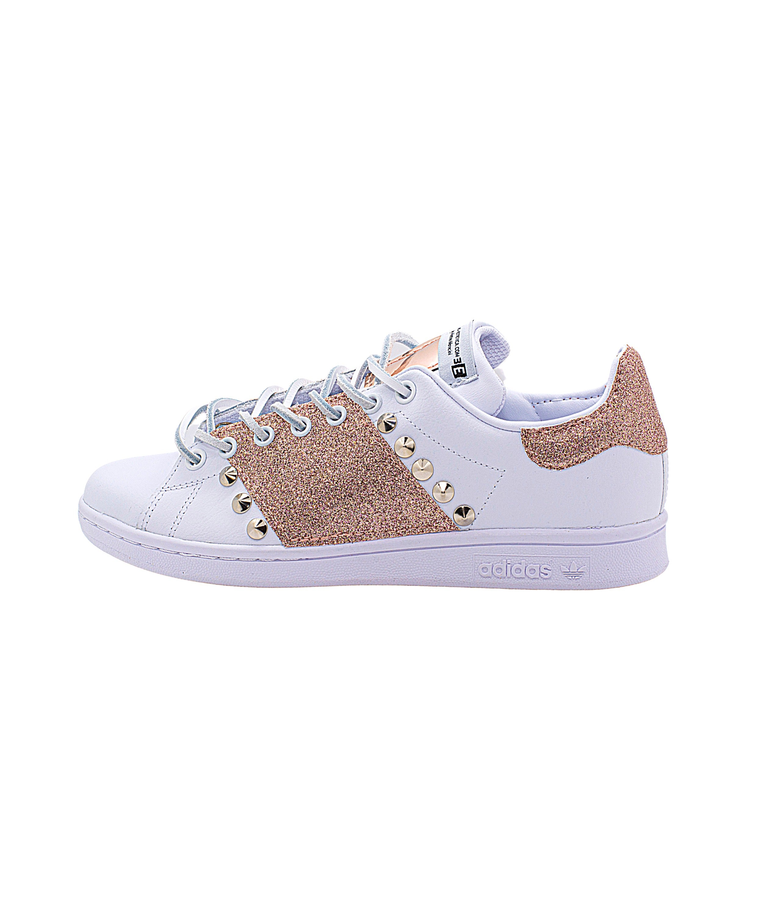 EticaEstetica Custom Sneakers Stan Smith Donna Bianco Glitter Borchie