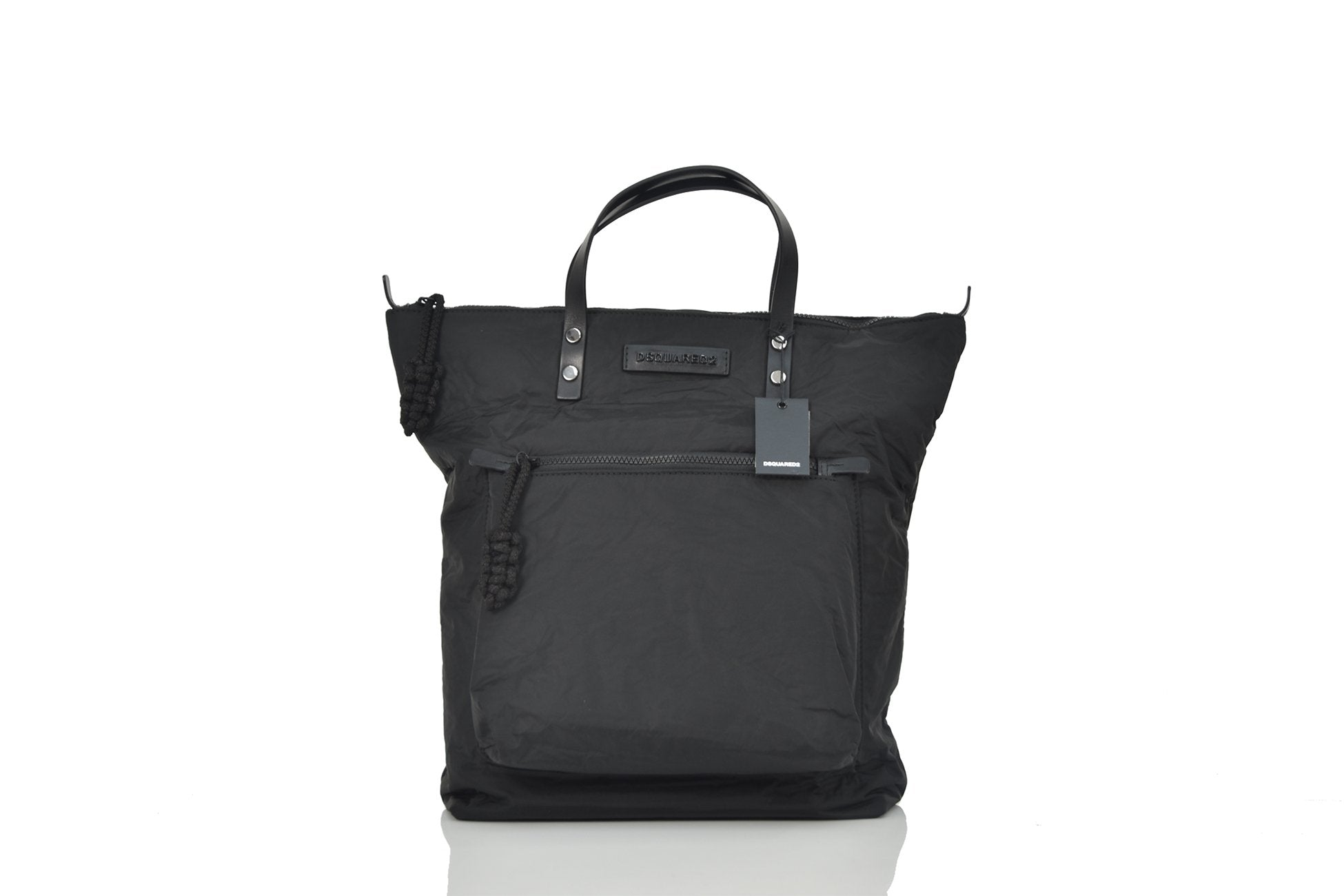 Dsquared2 Shopping Bag Manici in Pelle Nero