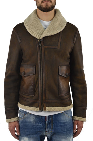 Dsquared2 Cappotto Montone Corto Marrone Uomo Mod.S74AM0402SX7948143