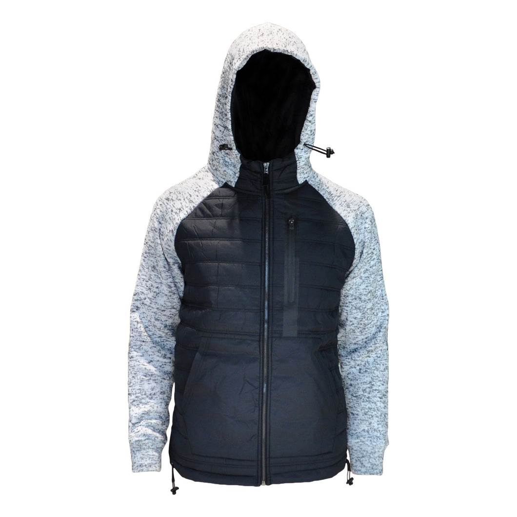 MEN'S NYLON QUILTED FULL-ZIP HOODED JACKET