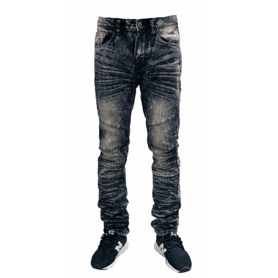 MEN'S WASHED MOTO DENIM JEAN