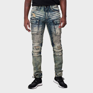 MEN'S DENIM MOTO JEAN