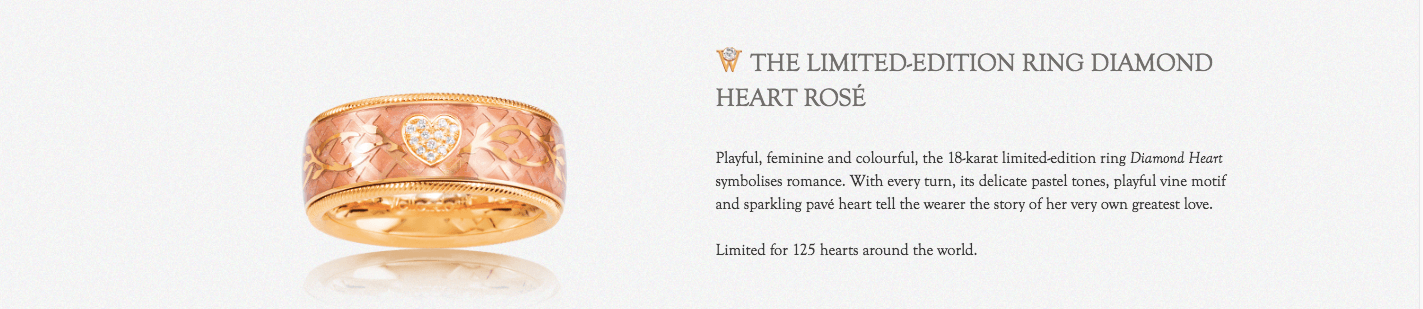 Wellendorff Limited Edition Ring Diamond Heart Rose