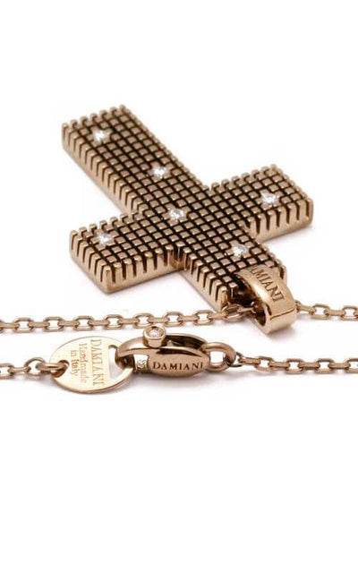 Damiani Metropolitan Dream Brown Gold & Diamonds Cross Pendant (20038923)