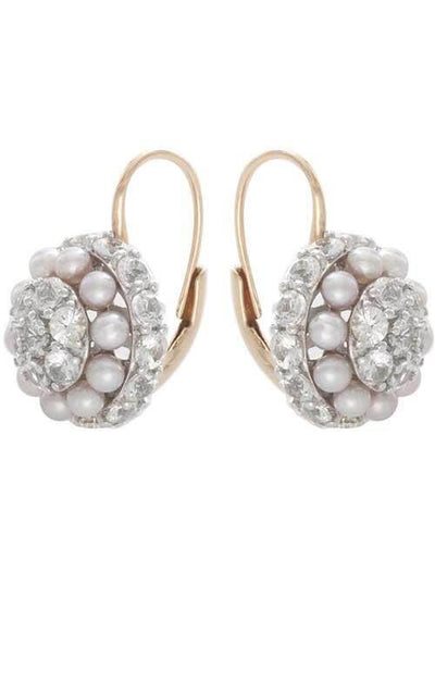 Mimi Garbo Gold, White Sapphires and Violet Pearls Earrings (O241C3Z)