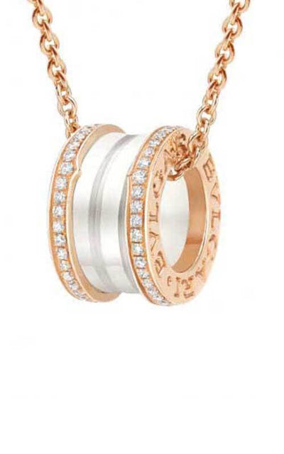 Bulgari B.Zero1 Necklace Pink Gold, White Ceramic and Diamonds (CL856794)