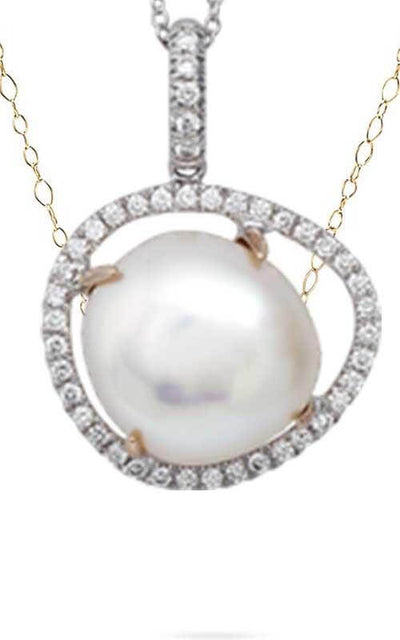 Mimi Victoria White Gold, Rose Gold, Pearl and Diamonds Pendant (P587C1B)