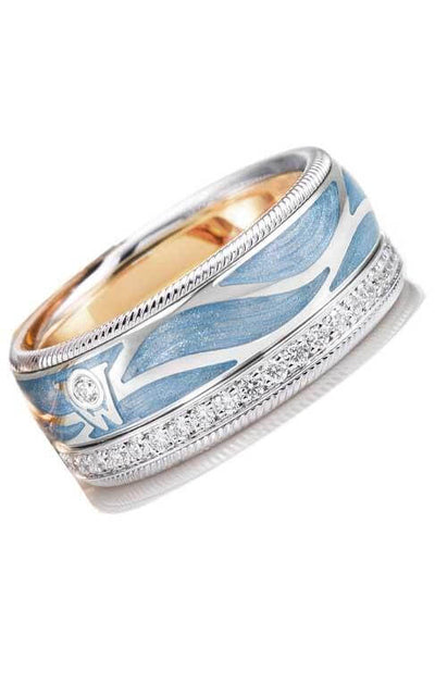 Wellendorff Ice Blue Ring White Gold and Enamel Ring (607210) Bandiera