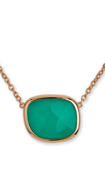 Roberto Coin Black Jade Collection Necklace Rose Gold and Green Agate (8882243AX17G)