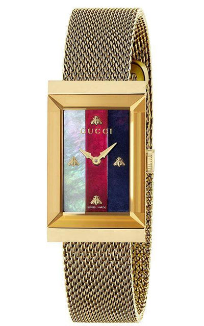 GUCCI G-Frame PVD Gold Rectangular Watch YA147410